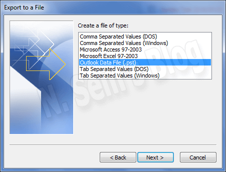 split PST using Outlook's Export feature