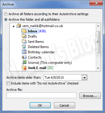 split PST using Outlook's Archive feature