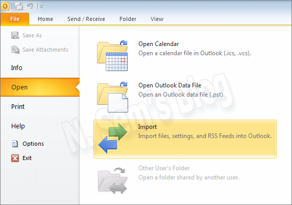 how to import pst file