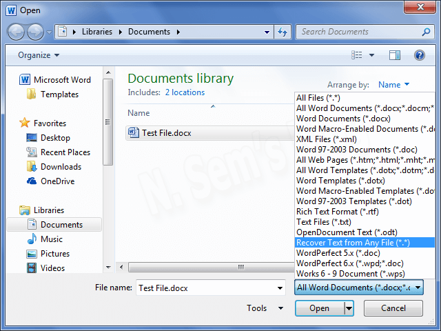 Recovery Converter of Word program