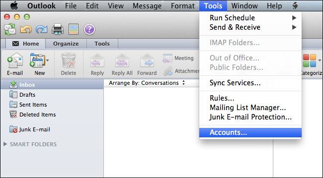 configure email account in Outlook for Mac