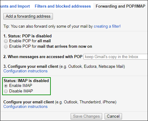 create IMAP account