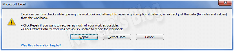 Open and Repair in Excel