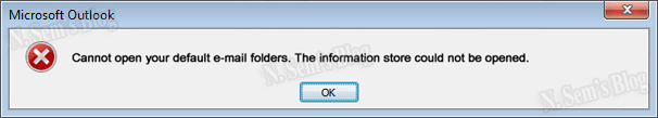 Cannot open your default e-mail folders