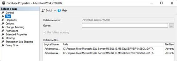SQL Server database properties