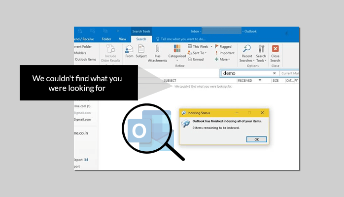 fix Outlook Search Problem Featured Image